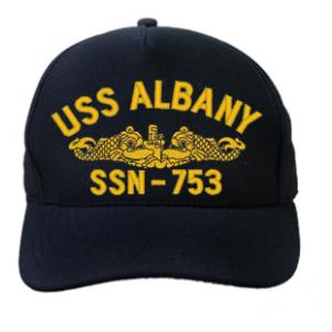 USS Albany SSN-753 Cap wtih Gold Emblem (Dark Navy) (Direct Embroidered)