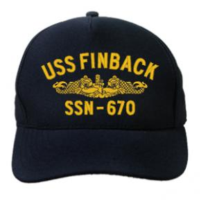 USS Finback SSN-670 Cap with Gold Emblem (Dark Navy) (Direct Embroidered)