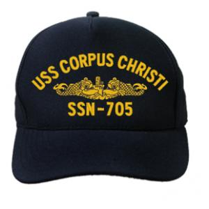 USS City Of Corpus Christi SSN-705 Cap with Gold Emblem (Dark Navy) (Direct Embroidered)