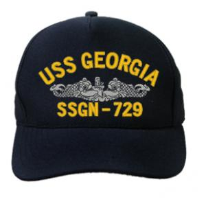 USS Georgia SSGN-729 Cap with Silver Emblem (Dark Navy)