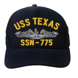 USS Texas SSN-775 Cap with Silver Emblem (Dark Navy) (Direct Embroidered)