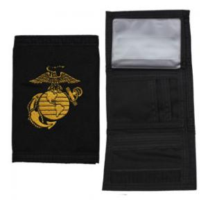 US Marine Corp Nylon Tri-Fold Wallet (Black) (Globe and Anchor)