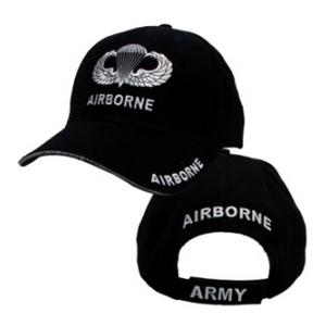 Army Extreme Embroidery Airborne Cap w/ Jump Wings (Black)