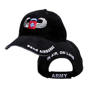 82nd Airborne Cap with Wings (Black)