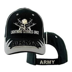 U.S. Army Lightning Strikes Once Cap (Black/Silver)