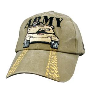 Army with Tank Extreme Embroidery Cap (Khaki)