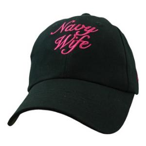 Ladies Navy Wife Script Black Cap