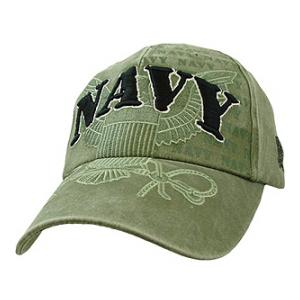 US Navy Cap with Embroidered Logo (Pre-Washed OD)