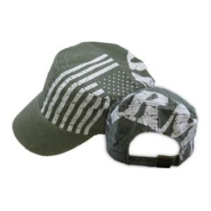 U.S. Army Flat-Top Cap with Flag (OD Green)