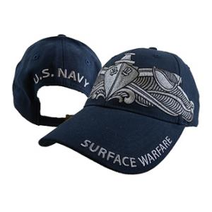 US Navy Surface Warfare Cap with Silver Embroidery (Dark Navy)