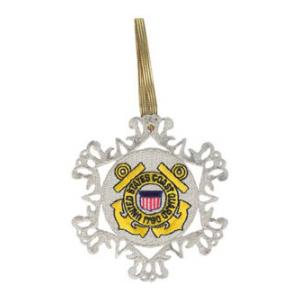 Embroidered Coast Guard Snow Flake Christmas Ornament