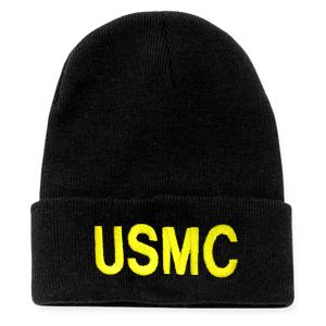 USMC Letters Watch Cap (Black)
