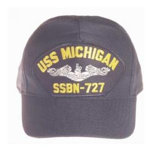 USS Michigan SSBN-727 Cap with Silver Emblem (Dark Navy) (Direct Embroidered)