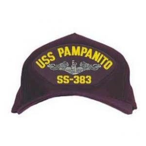 USS Pampanito SS-383 Cap with Silver Emblem (Dark Navy) (Direct Embroidered)