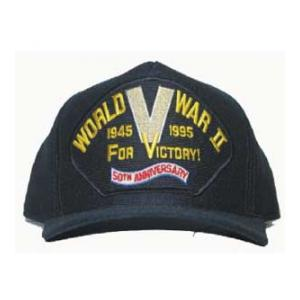 WWII 50th Anniversary 1945 1995 Cap with V for Victory