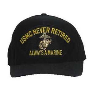 USMC Never Retired Always A Marine with Globe & Anchor (Black) Cap