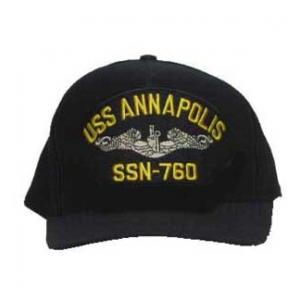 USS Annapolis SSN-760 Cap with Silver Emblem (Dark Navy)