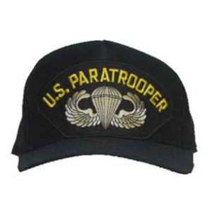 U.S. Paratrooper Cap with Wings (Black)