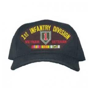 1st Infantry Division Vietnam Veteran Cap with 3 Ribbons and Patch
