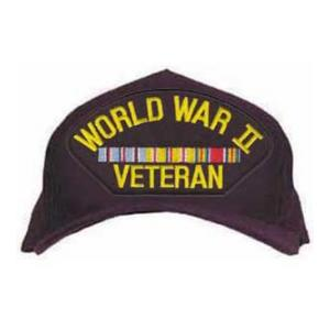 World War II Veteran Cap with 3 Ribbons (Pacific and American)