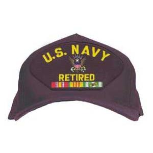 U. S. Navy Retired Cap with Eagle and Ribbons (Dark Navy)