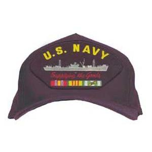 U. S. Navy Supplying The Goods Cap with Ribbons (Dark Navy)