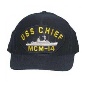USS Chief MCM-14 Cap with Emblem (Dark Navy) (Direct Embroidered)