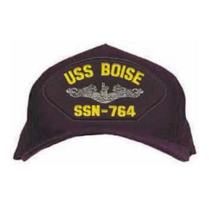 USS Boise SSN-764 Cap with Silver Emblem (Dark Navy) (Direct Embroidered)
