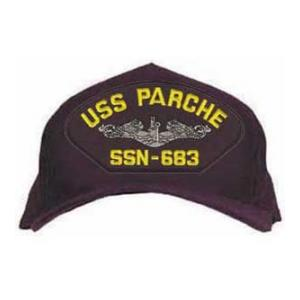 USS Parche SSN-683 Cap with Silver Emblem (Dark Navy) (Direct Embroidered)
