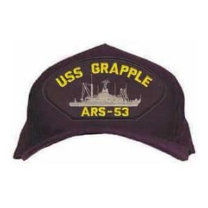 USS Grapple ARS-53 Cap with Boat (Dark Navy) (Direct Embroidered)