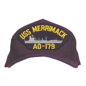 USS Merrimack AO-179 Cap with Boat (Dark Navy) (Direct Embroidered)