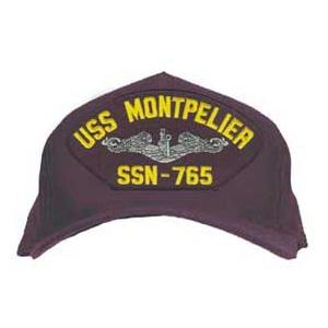 USS Montpelier SSN-765 Cap with Silver Emblem (Dark Navy) (Direct Embroidered)