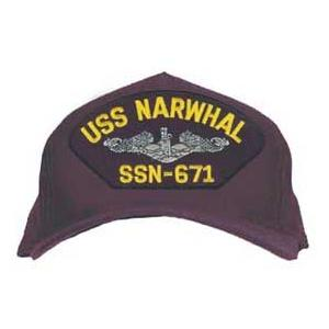 USS Narwhal SSN-671 Cap with Silver Emblem (Dark Navy) (Direct Embroidered)