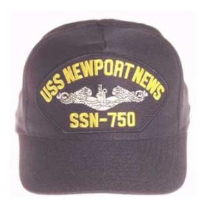 USS Newport News SSN-750 Cap with Silver Emblem (Dark Navy) (Direct Embroidered)