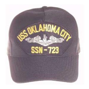 USS Oklahoma City SSN-723 Cap with Silver Emblem (Dark Navy) (Direct Embroidered)