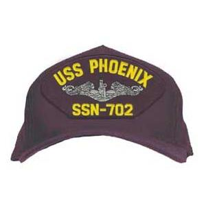 USS Phoenix SSN-702 Cap with Silver Emblem (Dark Navy) (Direct Embroidered)