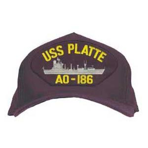 USS Platte AO-186 Cap with Boat (Dark Navy) (Direct Embroidered)