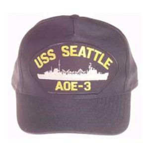 USS Seattle AOE-3 Cap (Dark Navy)(Direct Embroidered)