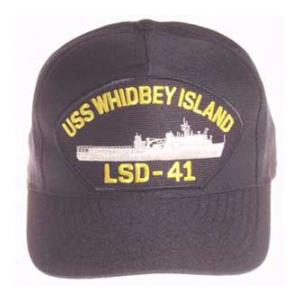 USS Whidbey Island LSD-41 Cap (Dark Navy) (Direct Embroidered)