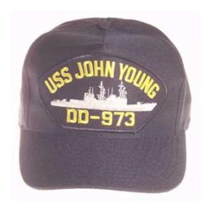 USS John Young DD-973 Cap (Dark Navy) (Direct Embroidered)