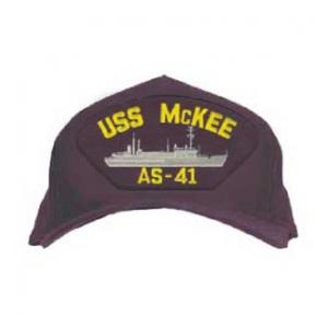 USS McKee AS-41 Cap with Boat (Dark Navy) (Direct Embroidered)