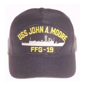 USS John A. Moore FFG-19 Cap (Dark Navy) (Direct Embroidered)