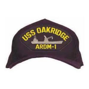 USS  Oakridge ARDM-1 Cap with Letters Only (Dark Navy) (Direct Embroidered)