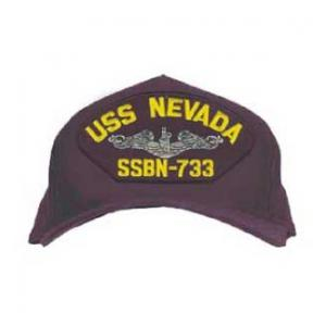 USS Nevada SSBN-733 Cap with Silver Emblem (Dark Navy) (Direct Embroidered)