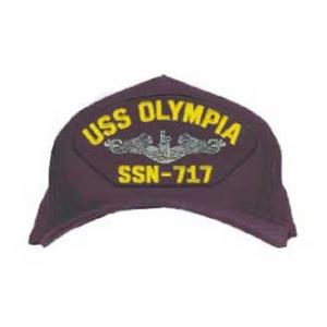 USS Olympia SSN-717 Cap with Silver Emblem (Dark Navy) (Direct Embroidered)