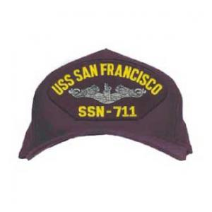 USS San Francisco SSN-711 Cap with Silver Emblem (Dark Navy) (Direct Embroidered)