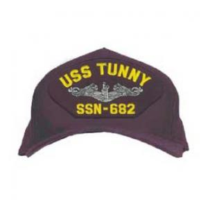 USS Tunny SSN-682 Cap with Silver Emblem (Dark Navy) (Direct Embroidered)