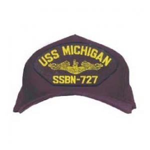 USS Michigan SSBN-727 Cap with Gold Emblem (Dark Navy) (Direct Embroidered)