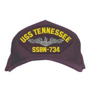 USS Tennessee SSBN-734 Cap with Silver Emblem (Dark Navy) (Direct Embroidered)