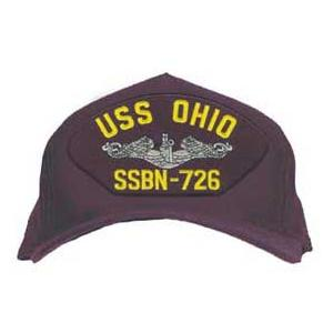 USS Ohio SSBN-726 Cap with Silver Emblem (Dark Navy) (Direct Embroidered)